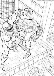 Spiderman Contro Venom In Cima Ad Un Grattacielo Da Colorare