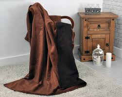 chenille and faux suede reversible throw 140cm x 200cm in brown