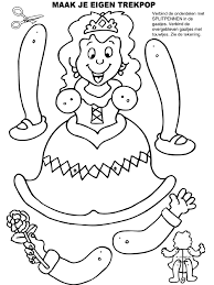 Kleurplaat Trekpop Prinsessenfeest Verjaardag Kleurplatennl