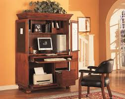 Computer Desk Cabinet Enchanting Dark Brown Oak Wood Computer Desk Cabinet Printer Hutch