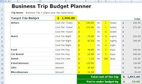 vacation expense calculator free business trip budget spreadsheet excel