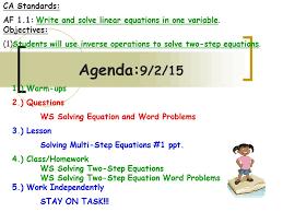 agenda 9 2 15 ca standards af 1 1 write and solve