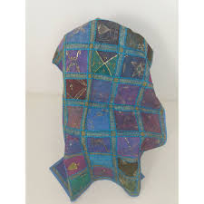 oxfam hub batley handmade indian patchwork wall hanging features panels with heat set or glued organza fabric over the top is diffe stitched