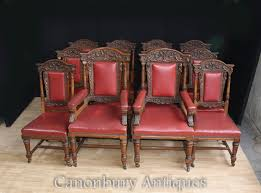 details about set 12 antique oak carved dining chairs in gillows manner 1870