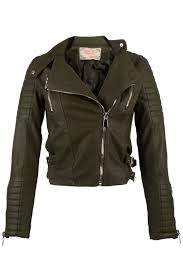 faux leather biker jacket dark green las wbg