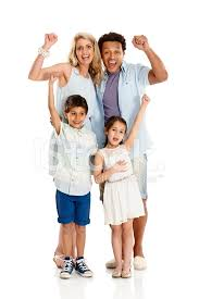 excited mixed race family cheering on white background
