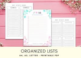 To Do List Organizer Lists Printable To Do Insert Task Etsy