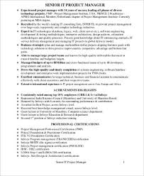 Sample It Project Manager Resume Stunning 48 Sample IT Project Manager Resumes Sample Templates