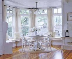 Dining Room Decorated With Patterned Bay Window Curtains - Bay window in dining room