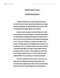 critique essay samples of introduction speech about yourself iasas dance critique international baccalaureate misc marked by teacherscom