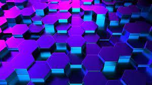 3D hexagons in perspective neon ...