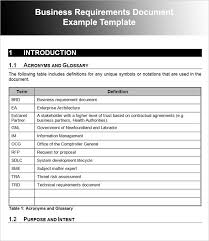 Business Requirement Example Examples Of Business Requirement Document Template Brd Business
