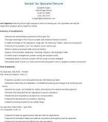 sample tax specialist resume insurance specialist - Tax Specialist Resume