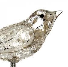 Sikora Christbaumschmuck Glas Ornament Clip Vogel Mit Federn Und Glimmer Dekor Silber 3er Set L13cm