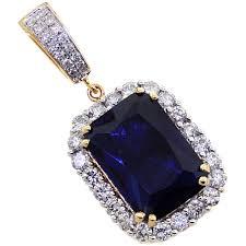14k sapphire diamond pendant necklaces