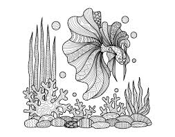 Free Coloring Page Coloring Zentangle Fish