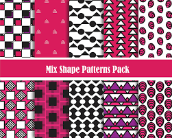 Shape Patterns Delectable Girly Mix Shape Pattern