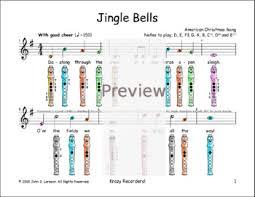 Jingle Bells For Recorder Christmas Sheet Music G