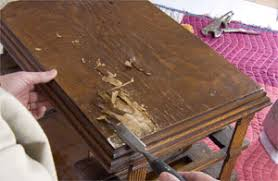 removing the veneer on an antique table top