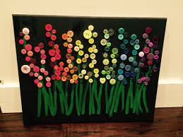 Canvas Art Gorgeous Button Art Flower Canvas By Buttonsandblingbydeb On Etsy