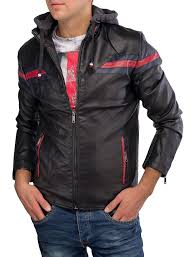 men s leatherjacket with detachable hood faux leather jacket leather biker style