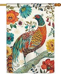 Breeze Decor H105056 Suzan Peacock Garden Friends Birds Decorative Vertical House Flag, 28\ Don\u0027t Miss This Deal: