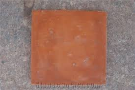 handmade terracotta tile clay glazed brown yellow orange red tile