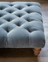 luxury velvet buttoned ottoman stool  rose  grey