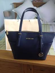 michael kors navy jet set top zip saffiano leather tote 1