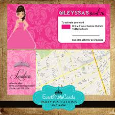 Credit Card Party Invitations Doll Quinceanera With Map Credit Card Holder Rsvp With Envelopes
