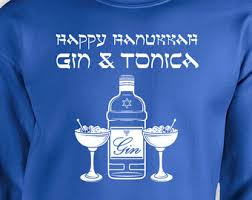 Happy Hanukkan Ugly Christmas Sweater Gin And Tonic Shirt Funny ...