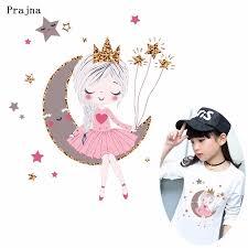 <b>Prajna</b> Cartoon Pink <b>Girl Vinyl Transfer</b> Star Moon Ironing <b>Heat</b> ...