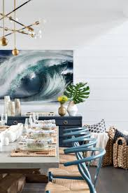 dining room furniture beach house. Modern Beach House Dining Room With Shiplap And Wishbone Chairs, Baskets Blue Sideboard Furniture