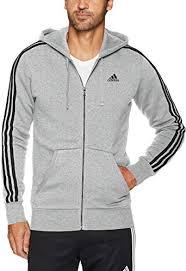 adidas Men's Athletics <b>Essential</b> 3 Stripe <b>Full Zip Hoody</b>: Amazon.co ...
