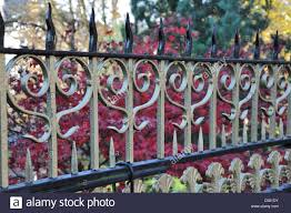 Decorative wrought iron fence painted in gold and black surround a