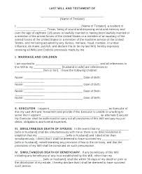 Last Will Testament Template – Gloryandhonour.co