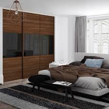 spacepro classic wideline sliding wardrobe door walnut black glass 3 x 2260mm