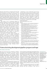 tuberculosis drug development pipeline progress and hope the lancet first page of article
