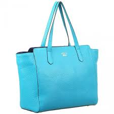 all the rage gucci swing slim top handles las light blue leather tote bag medium