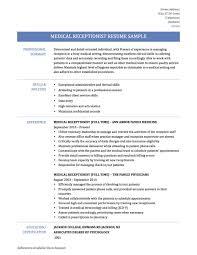 Medical Secretary Resume Template Receptionist Sample