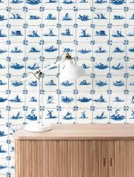 Behang Royal Blue Tiles 974 X 280 Cm Kek Amsterdam