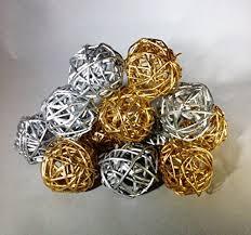 Decorative Vase Filler Balls Decorative Spheres Silver and Gold Rattan Vase Filler Christmas 44