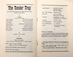 Programme - Theatre Programme, The Tender Trap / by Max Shulman & Robert  Paul Smith, 1960
