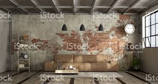 industrial style living room furniture. Brick Wall, Decor, Domestic Room, Furniture, Home Interior. Living Room In Industrial Style Furniture A