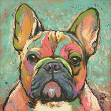french bulldog abstract wall oil painting print on canvas dogsbuzz