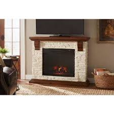 highland 50 in media console with faux stone electric fireplace tv stand in rustic white