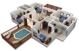 3d swimming pool design software. 4 Bedrooms House Design In CAD Software 3d Home Plan With Minimalist Fiberglass Private Swimming Pool N