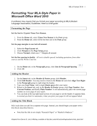 Formatting Your Mla Style Paper In Microsoft Office Word 2010