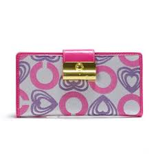Coach Lock In Hearts Large Pink Wallets 22848