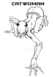 Small Picture Catwoman Stretching Coloring Pages Best Place to Color
